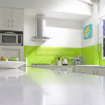 Kitchen green splashback