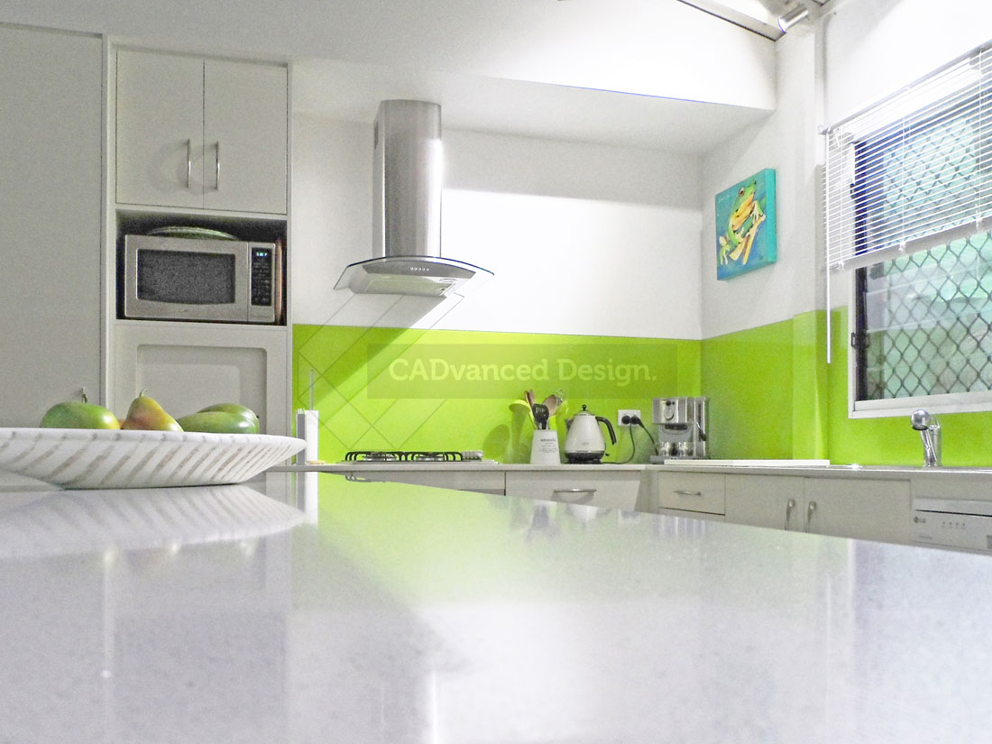 Kitchen green splashback